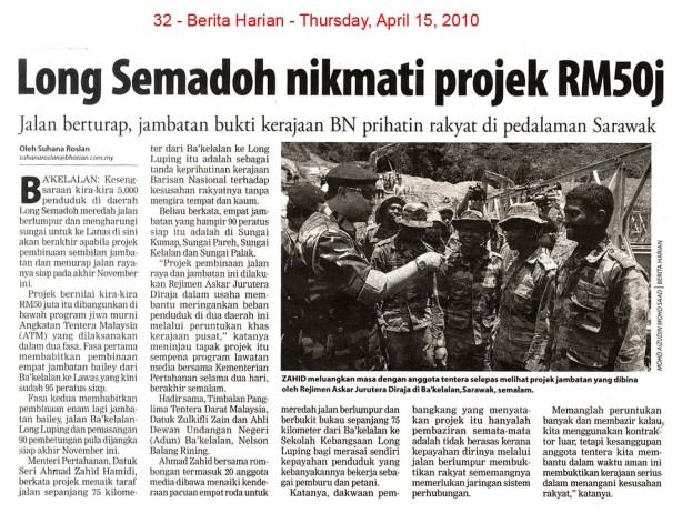 Berita Harian - Long Semadoh nikmati projek RM50j