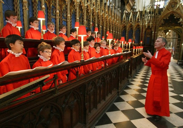Organist and Master of the Choristers James O'Donnell, right, conducts the Choir of Westminster Abbey, who will sing at the royal wedding