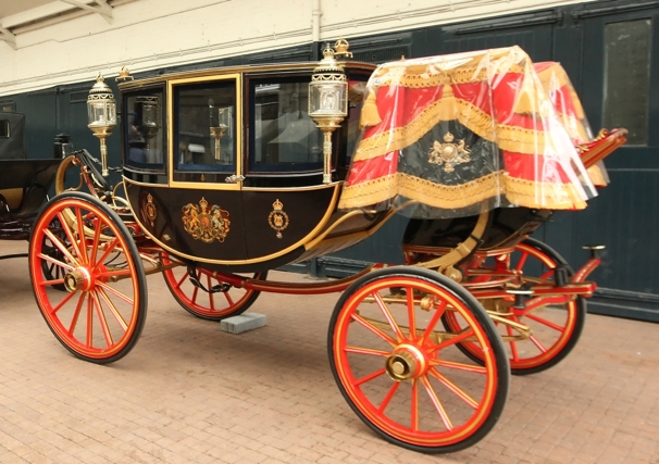 The Glass Coach at the Royal Mews in central London. The coach, which was built in 1881 and is traditionally used by royal brides to travel on their wedding day, will be used to carry Prince William and Kate Middleton in the event of bad weather
